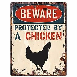 BEWARE PROTECTED BY A CHICKEN Chic Sign Vintage Retro Rustic 9