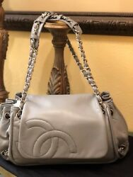 Auth Chanel Gray Lambskin Leather Accordion CC Hobo Chain Shoulder Bag