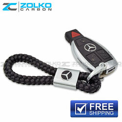KEYCHAIN KEY CHAIN RING BLACK LEATHER FOR MERCEDES BENZ EE08 US SELLER $8.99