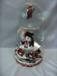 Vintage Frosty The Snowman Music Box Double Snow Globe Holiday Nice