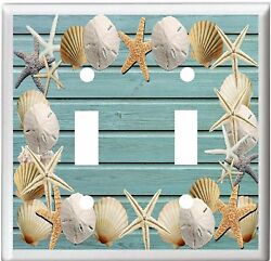 SEASHELLS ON BEACH BLUE WOOD IMAGE LIGHT SWITCH COVER PLATE OR OUTLET V803 2x