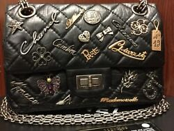 CHANEL LUCKY CHARMS BLACK LEATHER DOUBLE FLAP BAG
