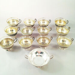 Set 12 Handmade Persian Silver Teacups W Glass Liners And Sugar Bowl