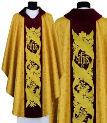 Gold/red Gothic Chasuble With Stole Ihs 580-agc16 Vestment Casulla Dorada/roja