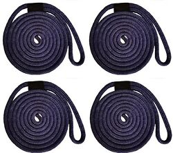Double Braid Nylon Dock Line - 1/2 X 30and039 / 4-pack Non-fading - Navy Usa Made