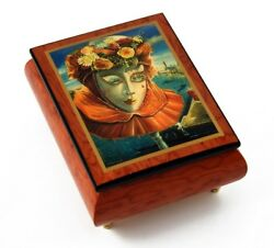 Festive Painted Ercolano Music Box Of A Carnival / Venetian Mask Titled Memorie
