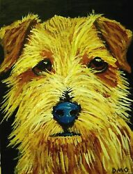 Norfolk Terrier original acrylic Painting Dog Puppy realism Art D.Oberling