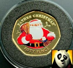 2018 Gibraltar Christmas 50p Fifty Silver Proof And 24k Gold Plated Coloured Coin