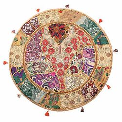 Yoga Vintage Round Patchwork Floor Pillow Cover Boho Embroidered Cotton 32x32