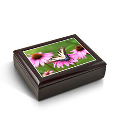 A Gentle Tiger Swallowtail Butterfly And Gerbera Daisies Tile Musical Jewelry Box