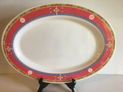 4 Large Oriental Chinese Melamine Ware 15 Oval Platter Plate Pink Yellow Blue