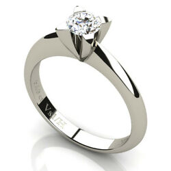Solitaire Diamond Ring 0.40 Ct Vs1 H Color Four Triangle Prongs 18k Carats Gold