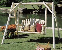 Rustic Porch Swing Stand Set Wood Frame Bench Log Swing Hammock Chair Natural