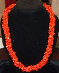 Red Coral Long 3 Strands And Gold Necklace L =25.5 And 124.8 Grams Nice Details
