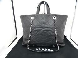 Chanel A90485 Shopping Grey Caviar Chain Shoulder Hand Tote Bag Used Ex++