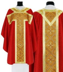 Red Gothic Chasuble With Stole Gt059-c25 Vestment Rouge Casulla Roja Casula