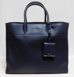 PRADA 1BG041-2AIX F0216 Hand Tote Bag Navy Blue Leather Never Used Mint