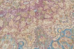 Beautiful Purple And Blue Vintage 5and0391 X 8and0394 Antique Kernam Design Rug