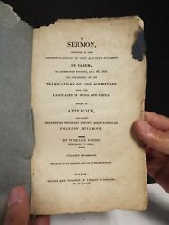 1812 Sermon In Salem Mass. By William Johns - Missionary To India