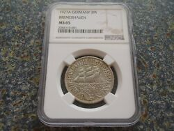 Germany Weimar 3 Mark 1927 Bremerhaven Ship Ngc Ms65 Bu Unc Coin Sailingship