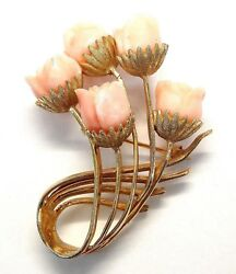 14k Yellow Gold Pink Coral Roses Flowers Brooch E