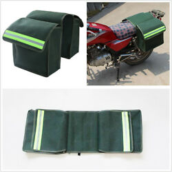 2Pc Thick Canvas Motorcycle Saddlebags Luggage Canvas Helmet Tank Bags With Band