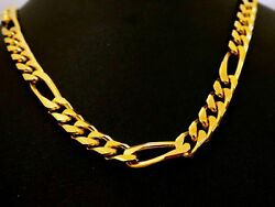 HANDMADE DESIGN 22 K YELLOW GOLD FIGARO CHAIN UNISEX NECKLACE GIFTING IDEAS