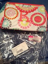 Thirty One Cosmetic Bag in Citrus Medallion personalized with a K