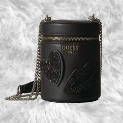 GUESS Ever After Mini Cylinder Women's Crossbody Bag Black NWT