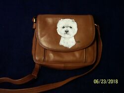 West Highland White Terrier Hand Painted ILI Genuine Leather Shoulder Bag Westie