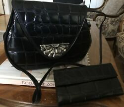 BLACK COWHIDE LEATHER DESIGNER PURSE with matching WALLET made in ITALY.