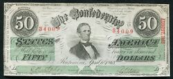 T-57 1863 50 Fifty Dollars Csa Confederate States Of America Currency Note Au