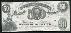 T-8 1861 50 Fifty Dollars Csa Confederate States Of America Currency Note Au