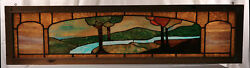 Beautiful American Stained And Leaded Glass Window Style Trees Ladscape