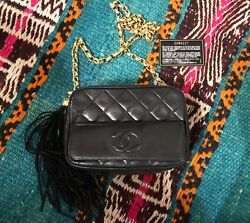 AUTHENTIC Vintage Chanel Leather Lambskin Quilted Fringe Chain Bag Purse Black