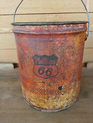 Vintage Original Phillips 66 Lubricant Gas Station 5gal Sign Advertising