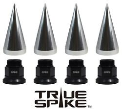 40 True Spike 22x1.5 33mm Dually Semi Truck Forged Steel Spiked Lug Nuts Silver