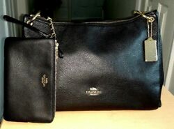 COACH PBL BLACK SHOULDER WOMEN LEATHER HANDBAG WITH  TWO-SIDE ZIPPER PAUSE