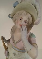 Vion And Baury Antique French Marked Bisque Porcelain Figurine Statue Woman W/ Fan