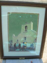 Original Tom Lea Gouche Painting Midnight Mass at Socorro Mission + Mag Cover 51