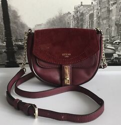 GUESS Womens Bag Burgundy Small Suede Flap Faux Leather Crossbody Shoulder