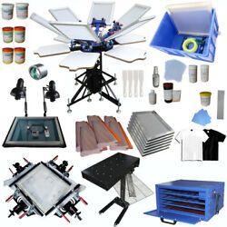 6 Color Full Set Screen Printing Kit Flash Dryer Exposure Stretcher Drying Cabin