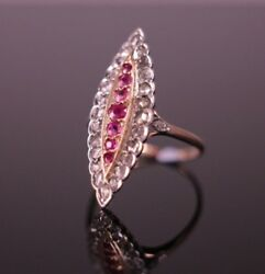 A Rare Navette Edwardian Pink Sapphire Ruby And Rose Cut Diamond Engagement Ring
