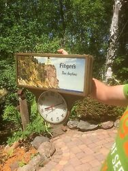 Vintage Rare Fitgers Beer Metal Motion Light Sign W/ Lighthouse Clock Duluth Mn