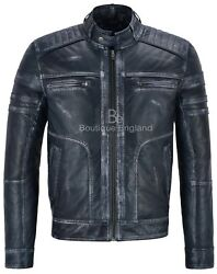 New Menand039s Real Leather Italian Navy Vintage Brave Action Retro Biker Jacket 1106