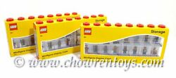 Lego Pack Of 3 Large 16 Minifigure Display And Storage Cases Red Brand New
