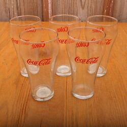 5 Indiana Glass Coca Cola Bell Soda Glasses Clear Red Logo Vintage