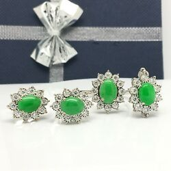 14k Solid White Gold Diamond Around Jade Ring Earrings And Pendant Set
