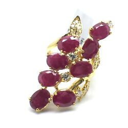 14k Solid Yellow Gold Diamond And Rubies Ring