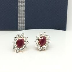 14k Solid Rose Gold Diamond Around Ruby Earrings
